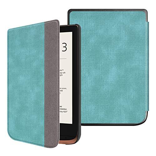 Fintie Slimshell Hoes voor Pocketbook Touch HD 3 / Touch Lux 4 / Basic Lux 2 E-Reader - Premium Lichtgewicht PU Leer Case Cover met Automatische Slaap/Waak Functie, Turkoois/Bruin