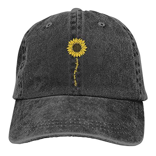 LOKIDVE Women's Cute Sunflower Baseball Cap, Adjustable You are My Sunshine Hat, Funny Dad Hat Black