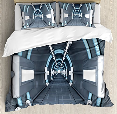 Ambesonne Outer Space Duvet Cover Set, Inner View of Rocket Structure Cyber Hallway Trip to The Dark Matter, Decorative 3 Piece Bedding Set with 2 Pillow Shams, Queen Size, Grey Blue