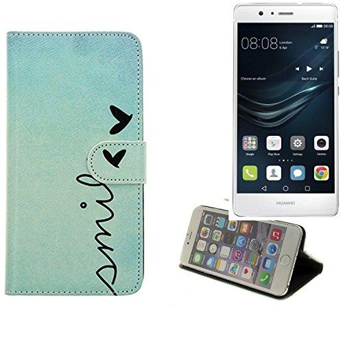 K-S-Trade® Schutzhülle Für Huawei P9 Lite Dual SIM Hülle Wallet Case Flip Cover Tasche Bookstyle Etui Handyhülle ''Smile'' Türkis Standfunktion Kameraschutz (1Stk)