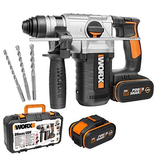 Worx WX392 Akku-Bohrhammer – 20V Profi Werkzeug – 3-in-1 Bohrer, Hammerbohrer & Meißel – Rechts- & linksdrehend und mit SDS-Plus Schnellspannbohrfutter – PowerShare kompatibel