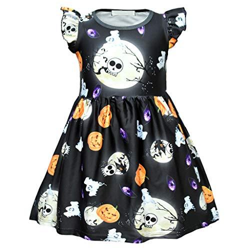 upxiang - Vestido infantil de Halloween para niño, diseño de calabaza, estampado de volantes de princesa, para Halloween o fiesta temática, ideal como regalo para 3 – 7 años, 01-Negro, 6 años