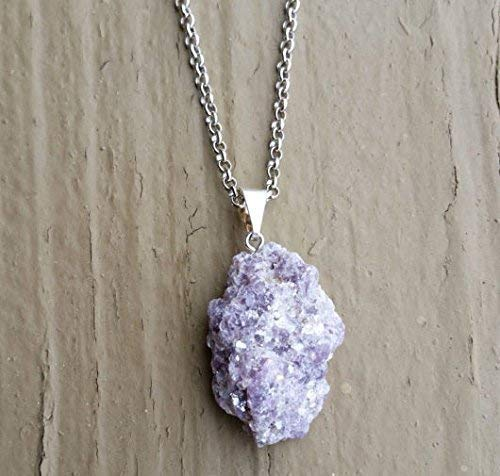 Natural Raw Lepidolite Crystal Pendant Necklace 22 inches Unisex