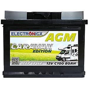 AGM Batterie 12v 80Ah Electronicx Caravan Edition Solarbatterie 12v Akku 12v Solar Batterien Versorgungsbatterie 12v…
