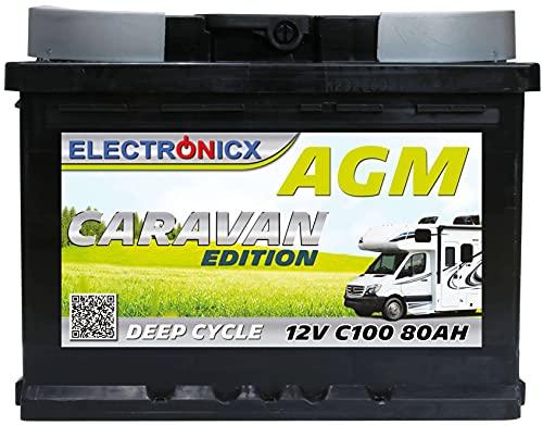 AGM Batterie 12v 80Ah Electronicx Caravan Edition Solarbatterie 12v Akku 12v Solar Batterien Versorgungsbatterie 12v Wohnwagen Batterie Wohnmobil 12v 80ah Solar Akku Mover Deep Cycle AGM Battery