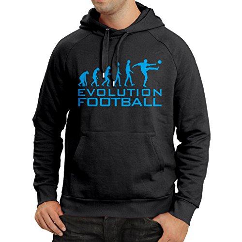 lepni.me Sudadera con Capucha La evolución del fútbol - Camiseta de fanático del Equipo de fútbol de la Copa Mundial (Medium Negro Azul)