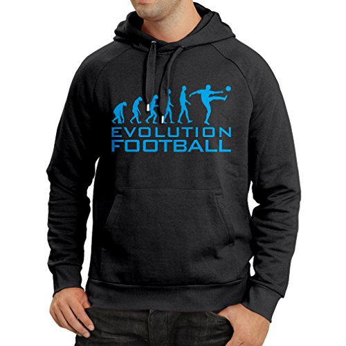 lepni.me Hoodie Sweatshirt The Evolution of Football - World Cup Soccer Team Fan Shirt (Large Black Blue)