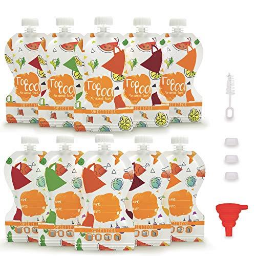Sweety Fox - Lot de 10 Gourdes Réutilisables - Gourdes Compote et Purée 150 ml - Double Zip Hermétique - Facile à Remplir, Nettoyer et Transporter - avec Goupillon et Entonnoir - Bébé et Enfant