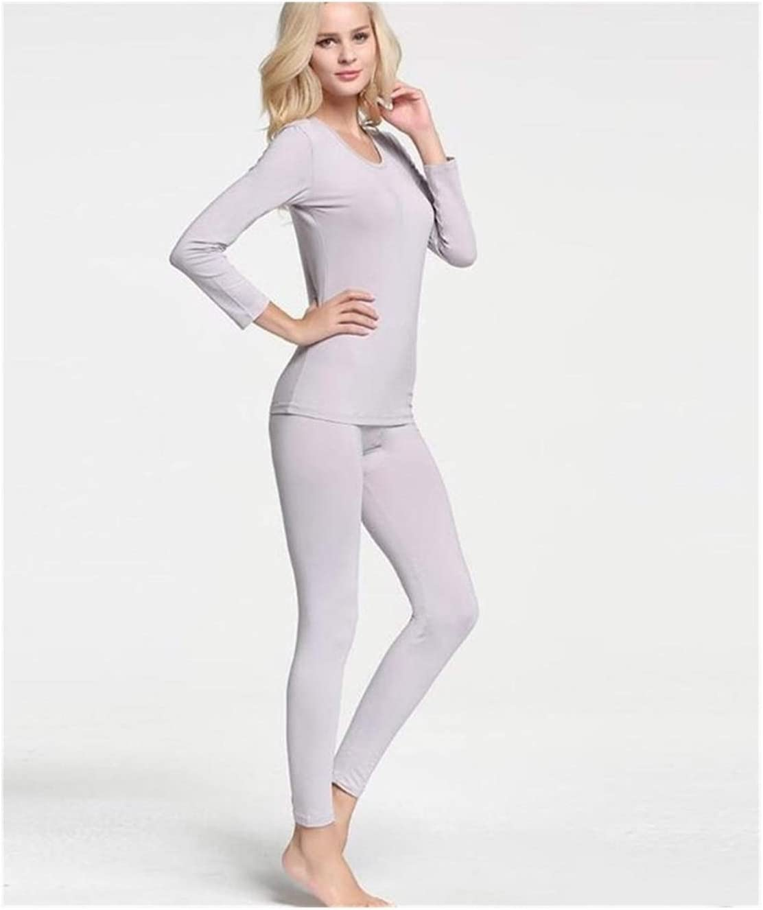 QWERBAM Woman Winter Warm Thermal Underwear Set for Women Solid Simple Elastic Female Sleep Wear Thermal Clothing Winter (Color : Pink, Size : L.)