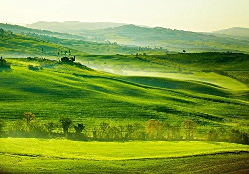 wandmotiv24 Fototapete Toskana Italien Landschaft XL 350 x 245 cm - 7 Teile Fototapeten, Wandbild, Motivtapeten, Vlies-Tapeten Toscana, Wiesen, Natur M0512