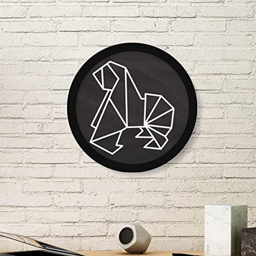 DIYthinker Resumen de Forma geométrica Arte Pintura del Perro de Origami Foto de la Imagen de Madera Marco Redondo Regalo a casa decoración de la Pared Grande Negro