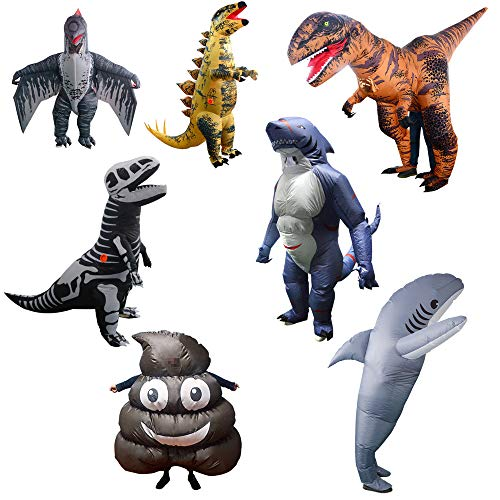 Erwachsene Aufblasbare Dinosaurier Hai Kostüm Blow Up Kostüm Halloween Weihnachten Karneval Party Cosplay Ganzkörper-Outfit,A