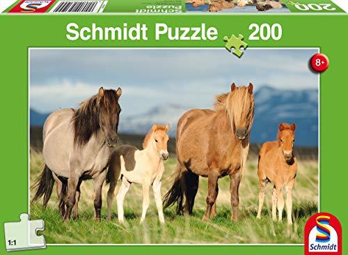 Schmidt- Puzzle Famiglia di Cavalli 200 Pezzi, 56199