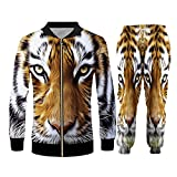 BSDASH Oversize Uomo Set 3D Animal Tiger Stampa Unisex Atletica Cerniera Felpe Con Cappuccio Giacca Joggers Pantaloni 2 Pezzi Set JKPA70196 M