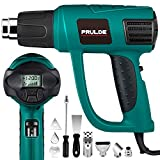 Heat Gun Variable Temperature, PRULDE N2030 Hot Air Gun with LCD Digital Display, 120°F-1200°F Temperature & Air Flow Adjustable and 6 Nozzles Attachments