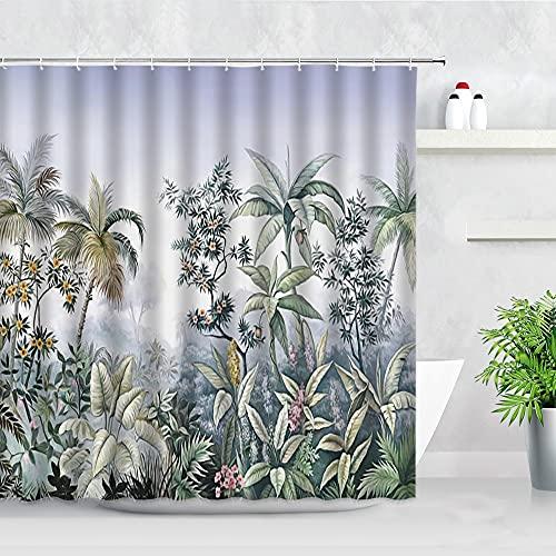 Tropischer Dschungel Pflanzen Duschvorhang Palmen Leopard Flamingo Papagei Blätter Landschaft Badezimmer Dekor Vorhänge S.6 150x200cm