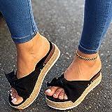 DZQQ Sandalias para Mujer, Zapatos de Verano, cuñas, Sandalias Bonitas de Fondo Grueso, Verano 2020, Sandalias de Plataforma Impermeables con Lazo de Mariposa, Zapatos