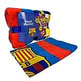 FC Barcelona Twin Sized Plush Micro Raschell Throw Blanket 62' X 90'