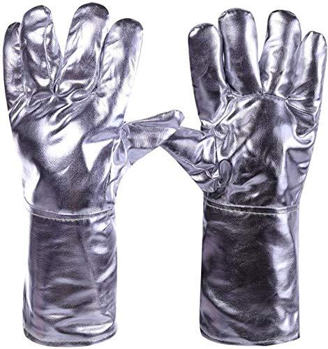 FZWAI Guantes Guantes de horno calor extremo guantes resistentes a los mitones del horno for hombres y mujeres de soldadura de alta temperatura guantes del papel de aluminio a prueba de fuego