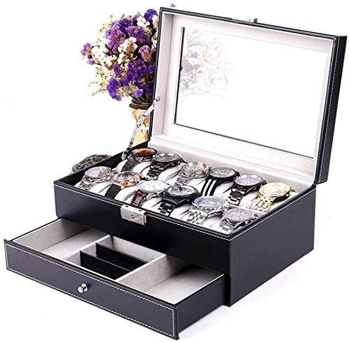 Caja de reloj doble caja de joyería de gama alta Caja de reloj con anillo y pendientes de gafas de sol, caja de almacenamiento de joyas