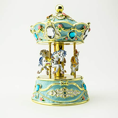 Keren Kopal Blue Musical Carousel with White Royal Horses Wind up Music Box Decorated with Flowers Faberge Style Unique Handmade Gift Idea