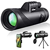 Outerman 40×60 High Power Monocular Telescope, BAK4 Prism, FMC Lens, Clear Vision, Fogproof & IPX7 Waterproof Monocular with Smartphone Adapter Tripod Suit for Travel, Bird watching, Concerts, Football Matches