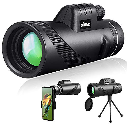 Outerman 40×60 Monocular Telescope, BAK4 Prism, FMC Lens, Clear Vision, Fogproof & IPX7 Waterproof Monocular with Smartphone Holder Tripod Suit for Travel, Bird Watching, Concerts, Football Matches