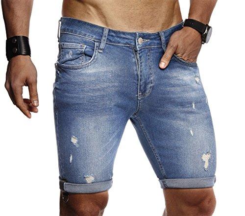 Leif Nelson Herren Männer Jungen Sommer Jeans Shorts Jeanshose Chinos Cargo Bermuda Basic Kurze Hose 5-Pocket Destroyed Used Stretch Freizeithose Denim Slim Fit LN9130; W31; Blau