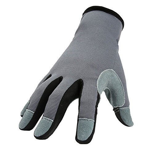 OZERO Utility Work Gloves Flex Deerskin Leather Touch Screen Garden Glove for Yard Working/Gardening/Bike Cycling/DIY/Mechanic for Women and Men (Gray,Small)