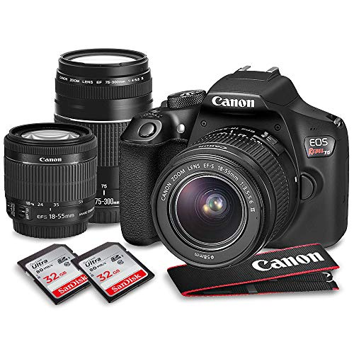 Canon EOS Rebel T6 DSLR Camera W/EF-S 18-55mm f/3.5-5.6 is II Lens - 75-300mm Lens, 2X 32GB