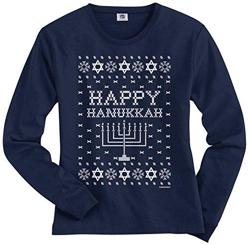 Threadrock Women's Happy Hanukkah (Ugly Sweater) Long Sleeve T-Shirt XL Navy