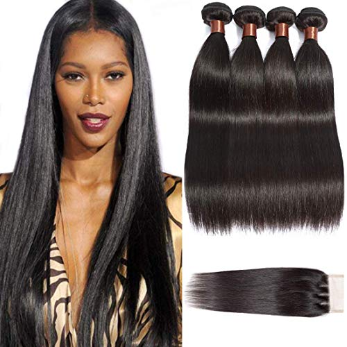 ANGIE QUEEN Brazilian Straight Hair with Closure Unprocessed Brazilian Virgin Hair 4 Bundles with Three Part Closure Natural Color Human Hair Bundles Weaves With Closure (18 20 22 24+16 Closure)