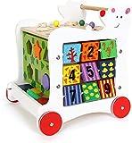 Andador con dibujos, andador andador de madera para bebés, andador de cubo de habilidades motoras andador andador andador andador altura ajustable para niños,Red