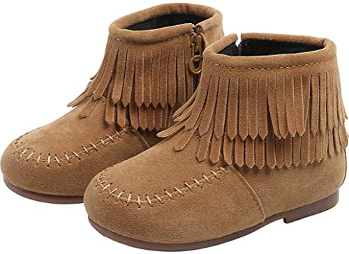 ANIIWO Toddler Girls Boys Snow Boots Kids Double Fringe Tassel Ankle Boots Outdoor Zip Up Walking Shoes Fall Winter Warm Short Bootie (Brown,Age:5-5.5T/ US 9.5)