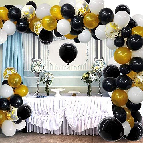 Globos de Fiesta Kit de Guirnalda 121 Piezas de Globos de Látex de Confeti Metálico Dorado Negro para Graduación Boda Fiesta de Cumpleaños Baby Shower Decoraciones