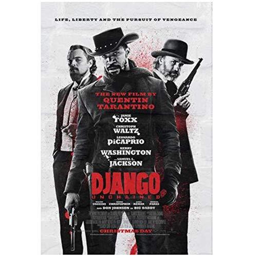 LIUXR Klassischer Film Django Unchained Retro Poster Leinwand Malerei Wandkunst Druck auf Leinwand für Wohnkultur -20X28 Zoll No Frame 1 Pcs