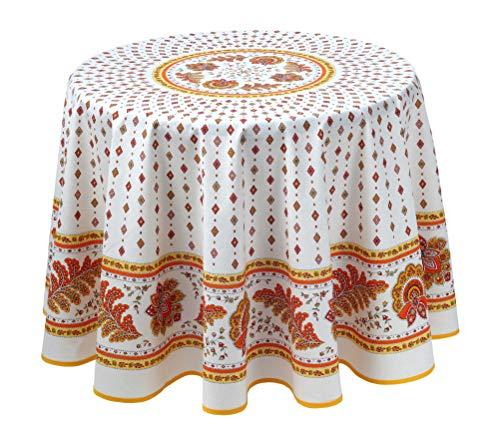 Provencetischdecke Mirabeau, Ecru-Orange, Baumwolle, ca. 180cm Durchmesser von Provencestoffe