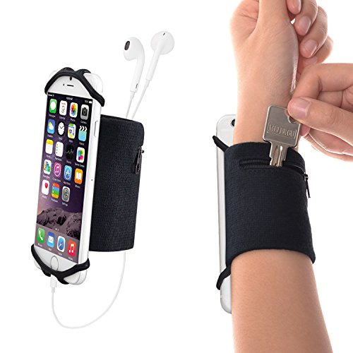 WANPOOL Sweatband Wristband + Detachable Silicon Net with a Little Pouch for Keys and Coins for 4.5-6 inch Phones