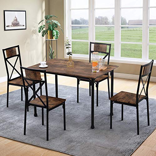 ModernLuxe Dining Table and Chairs Set Kitchen Table Furniture Dining Set Solid Wooden Table & Metal Legs (Rustic Brown Table and 4*Rustic Brown Chairs)