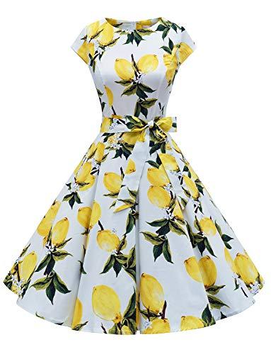 Dressystar Damen Vintage 50er Cap Sleeves Dot Einfarbig Rockabilly Swing Kleider die Zitrone M