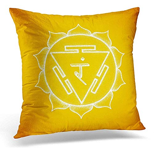 POUDBDH Decorative Pillow Cover Third Chakra Manipura Sanskrit City of Jewels Seed Mantra Ram Hinduism Syllable Lotus Petals Dot Work Throw Pillow Case Square Home Decor Pillowcase 18X18 Inches