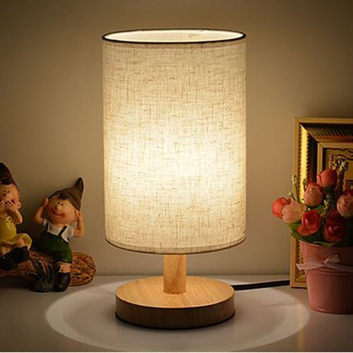 Table Lamps with LED Bulb INVESCH Bedside Minimalist Solid Wood Table Lamp for Bedroom Living Room Linen Fabric Shade E26/E27 Base Desk Lamp with ON/Off Switch