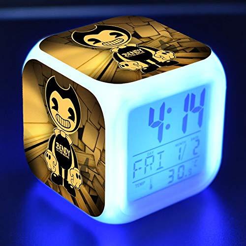 JXAA Reloj Despertador para niños, luz LED, 7 Colores, Cambio de Pantalla, Reloj, Mesa Cuadrada, número Cuadrado, Retro