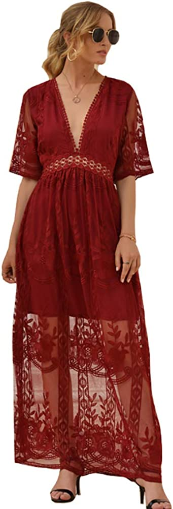 Wicky LS Women's Sexy 35% OFF Short Sleeve V-Neck Low Ro Direct stock discount Long Dress Lace