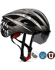 Casco de bicicleta Shinmax, MTB para hombre y mujer, ajustable, con luz trasera LED recargable y visera magnética extraíble