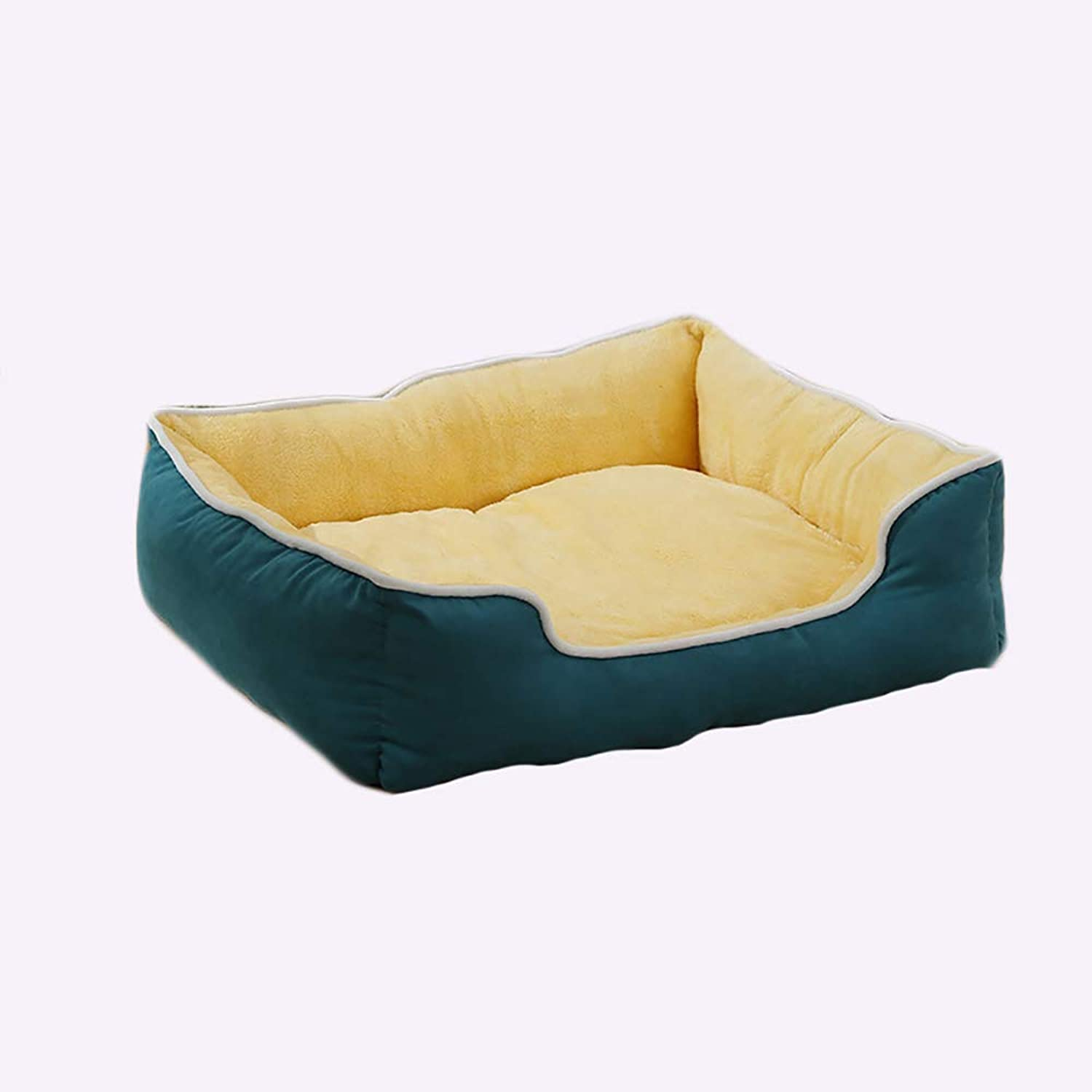 Cat and Dog Bed Pet Mats,Medium and Large Dogs Pet Bed, Washable Warm Plush Mattress, Green (Size   S(46x42x22cm))