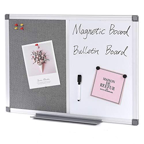 Swansea Whiteboard Magnettafel und Pinnwand Filz mit Aluminiumrahmen für Wohnung, Büro, Küche und Schule, 60X45cm