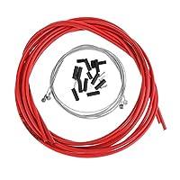 バイク ブレーキケーブルキット フロント/リア インナー アウター ブレーキワイヤー 7色選ぶ - レッド