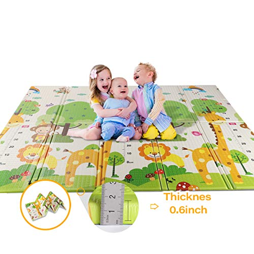 WV WONDER VIEW Baby Playmat Crawling Mat Folding Mat, Doble Side Portable Colorful and Waterproof Playmat for Kids Baby and Toddler, Thick Extra Large Playmat 79x71x0.6 inch