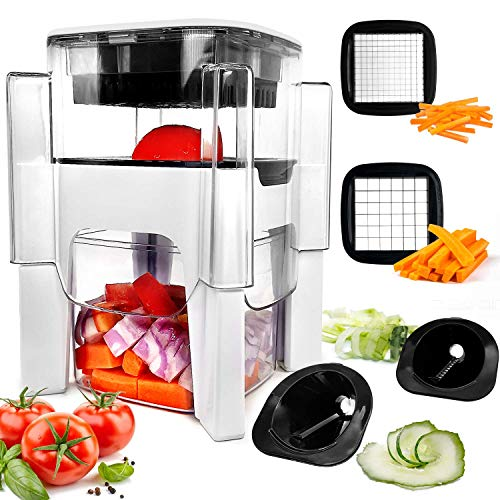 Vegetable Chopper, Fun Life 4 in-1 Food Chopper Cutter Slicer Dicer, Manual Veggie Slicer For Cutter, Dicer, Spiralizer For Onion, Garlic, Cabbage, Carrot, Potato, Tomato, Fruit, Salad
